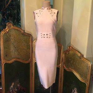 Dresses & Skirts - Nude bandage dress with gold chain accents